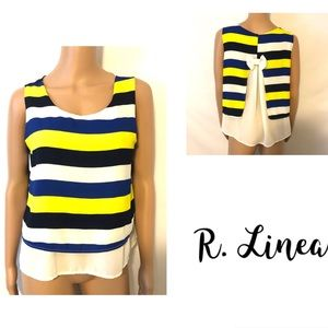 Striped Dressy Top w/Accent Bow on Back